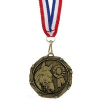 COMBO Horse Medal with 10mm R/W/B R-AM1061.12